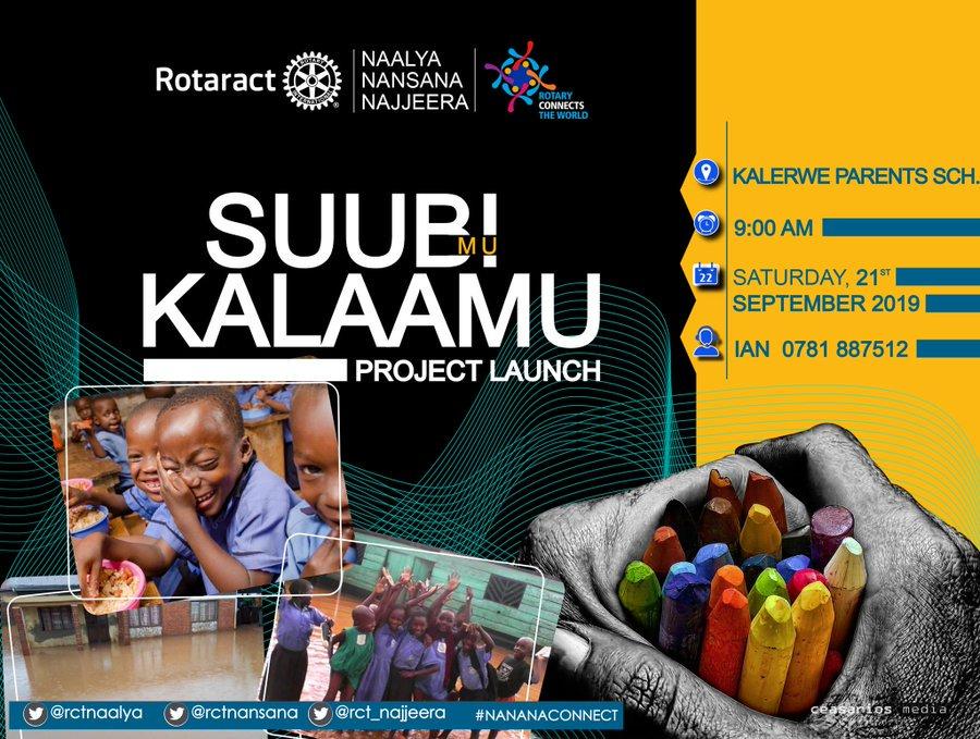 This #Saturday 21/09, all roads lead to #KalerweParentsSchool for #SuubiMuKalaamu Joint Literacy Project #Launch by @rctnansana @rctnaalya @rct_najjeera in celebration of the #InternationalLiteracyDay   #ILD #ILD2019 #LiteracyForChange #Islamabad3282 #UNESCO #Roraract #Rotary<br>http://pic.twitter.com/7M8zd7ZBUA