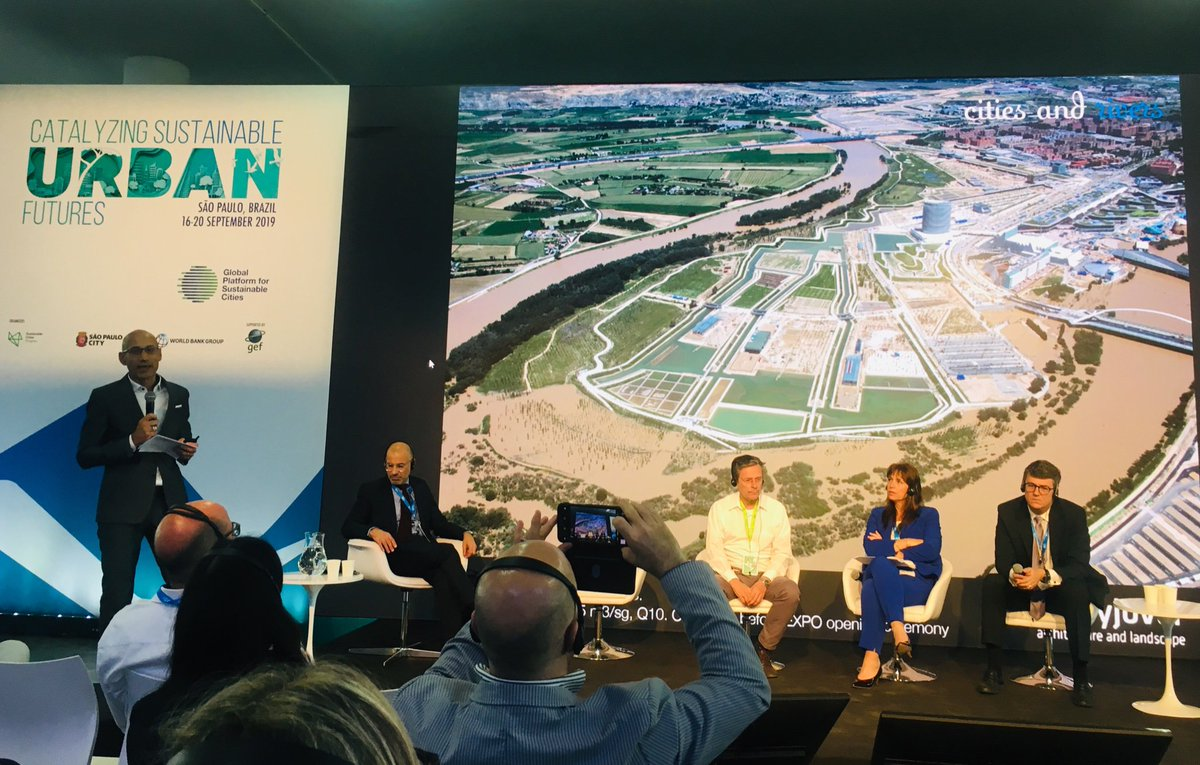 """""""The water infrastructure as an opportunity for social public space and urban ecologies""""  Thank you @inakialday for sharing today at @WBG_Cities  #TheGPSC your projects with cities and rivers all over the world @WorldBank"""