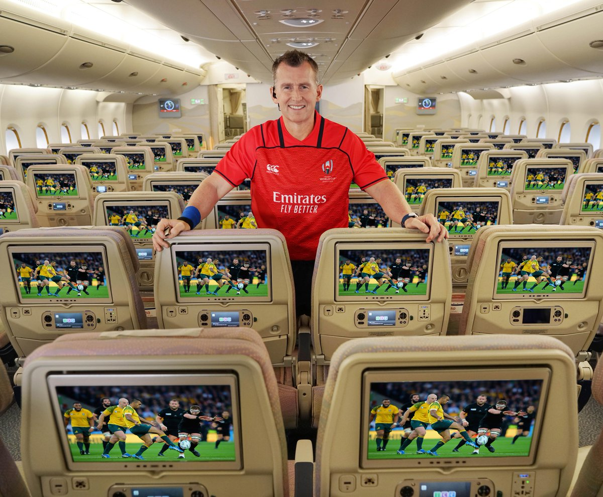 Game on, Rugby fans! Catch the @rugbyworldcup™ 2019 action live on Emirates' ice on over 175 aircraft and never miss a game. #RWC2019 #RugbyWithEmirates #FlyEmiratesFlyBetter @Nigelrefowens