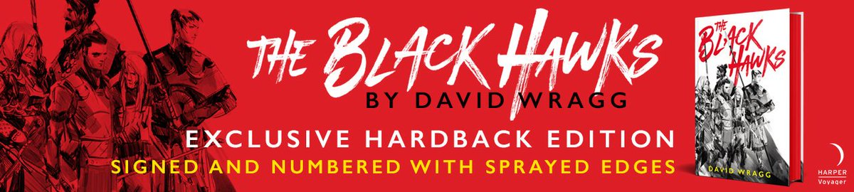 Just 2 weeks until The Black Hawks by @itsdavewragg is published, & you can get your hands on one of our gorgeous exclusive hardback editions. Theyre signed & numbered with red sprayed edges! Youre going to want this brilliant fantasy debut immediately. goldsborobooks.com/product/the-bl…