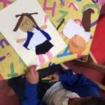 Image for the Tweet beginning: Class 1 children make collages