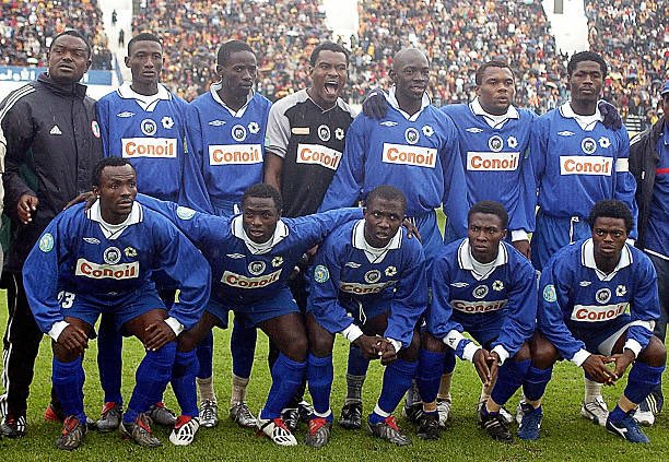 Throwback to arguably the greatest team in NPFL history.   Can you identify these legends??  #brilafm #brilasports @EnyimbaFC<br>http://pic.twitter.com/dlF8ozylR1