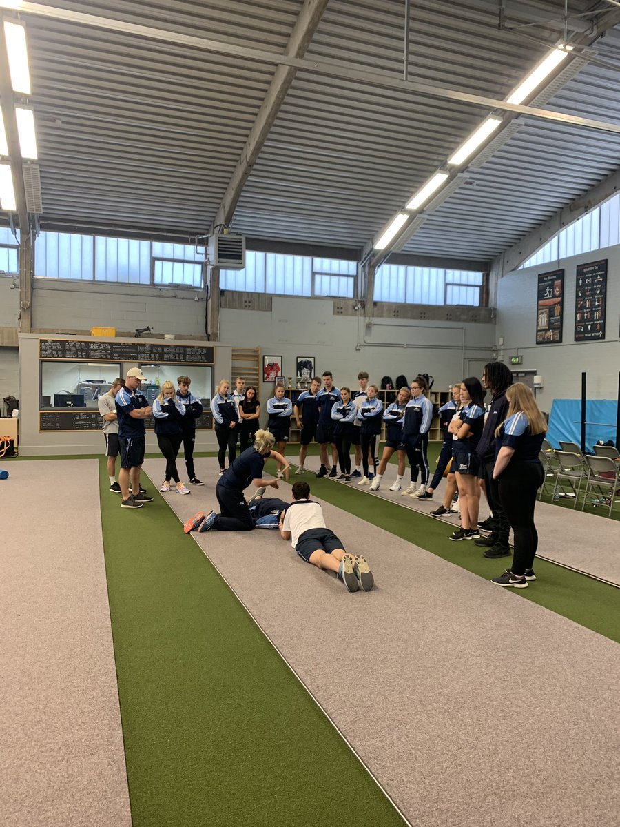 Module: Athlete Management 1. Our second year students learning how to deal with acute injuries, safely removing athletes from the field of play, and identifying life threatening situations/injuries.
