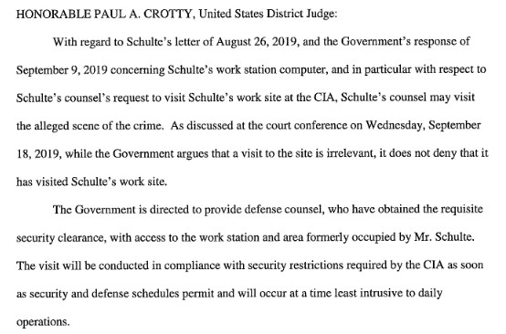BREAKING: Attorneys for Joshua Adam Schulte, the suspected source for the WikiLeaks Vault 7 trove of CIA files, can visit their clients former workstation, over the objections of federal prosecutors. Background @CourthouseNews: courthousenews.com/attorneys-for-…