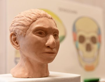 A close-up of the 3D printed reconstruction of a female Denisovan, unveiled by Professor Liran Carmel, researcher at the Hebrew University in Jerusalem, at a press event in Jerusalem, Thursday, September 19, 2019. It is the first reconstruction of the Denisovan anatomy. Photo by Debbie Hill/UPI