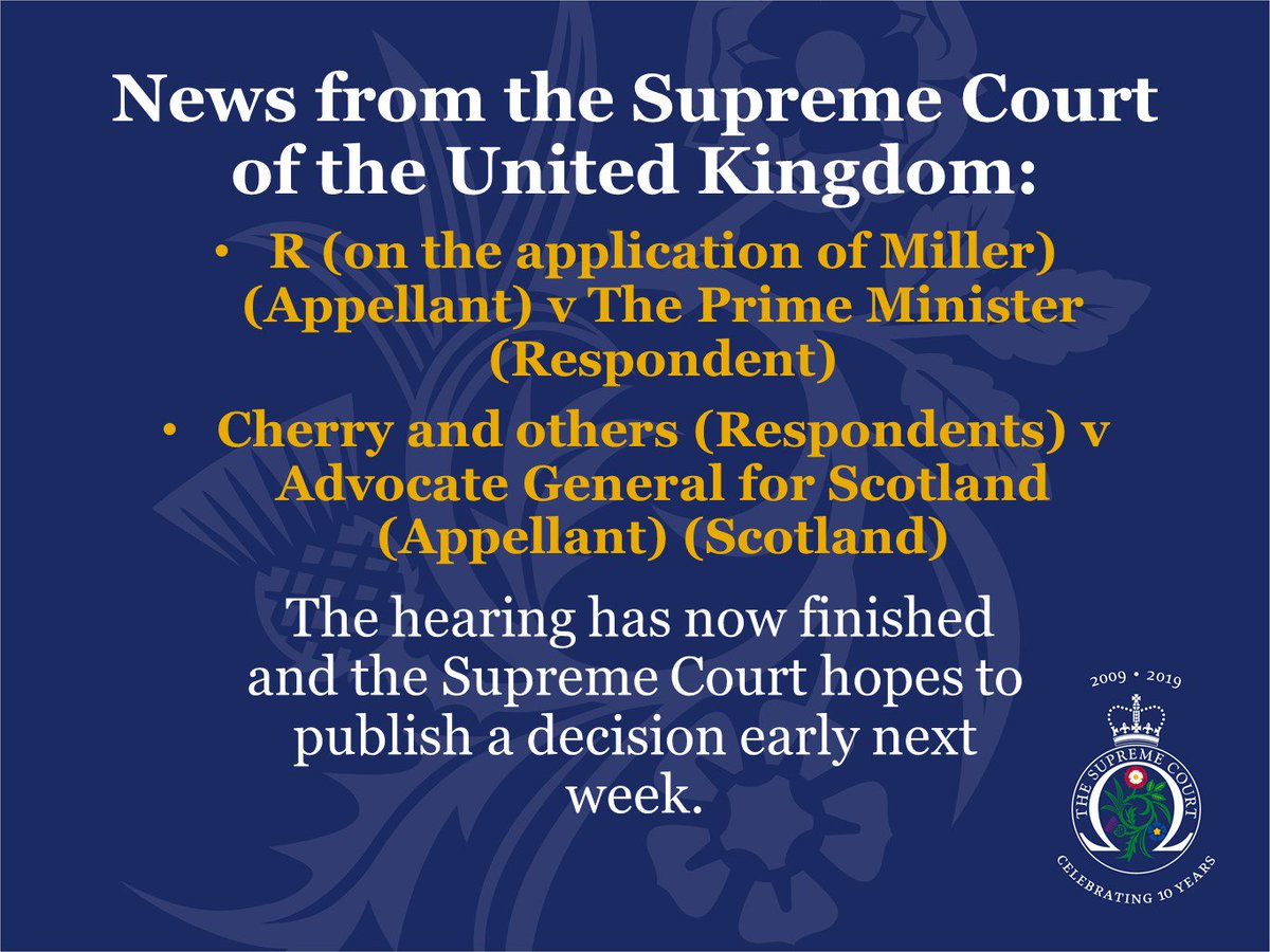 The hearing of R (on behalf of Miller) v The Prime Minister and Cherry and others v Advocate General for Scotland is now complete.