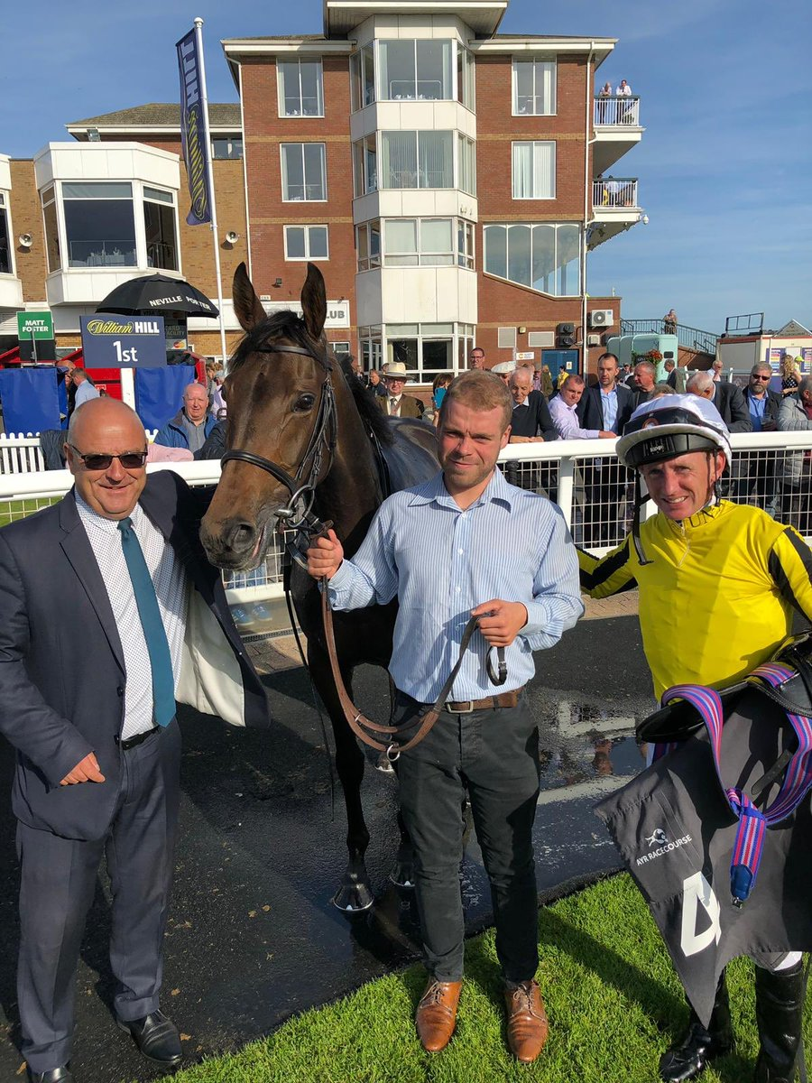 Nice to have a double on the opening day of the Ayr Western Meeting. Eva Maria for Bill & Tim Gredley & Militia for Middleham Park Racing. Paul in the saddle, Kieran & Marcus leading up
