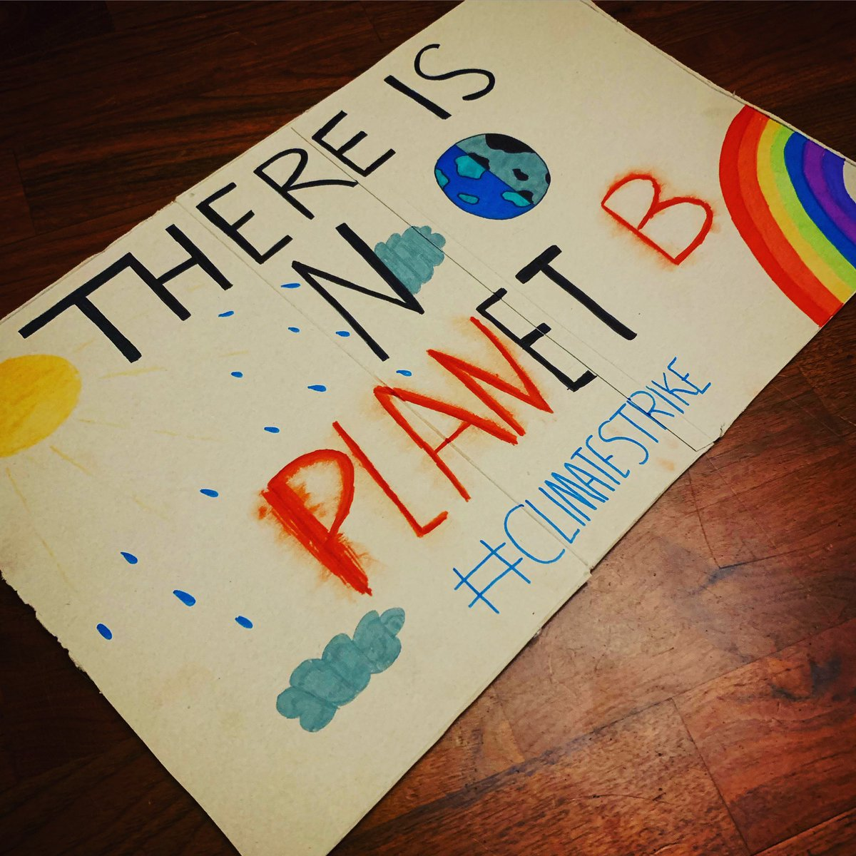 Daughter number two's placard for the #climatestrike march in London tomorrow 🌍 💚