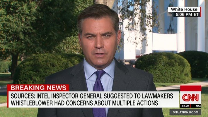 """Media: Jim @Acosta to @wolfblitzer: """"The @realDonaldTrump administration is once again stonewalling #Congress,"""" the IG today telling a closed session on the #Hill that he does not agree with the #DNI's suppression. """"It amounts to taking the whistle away from the whistleblower.""""<br>http://pic.twitter.com/UyVCIGHyHe"""
