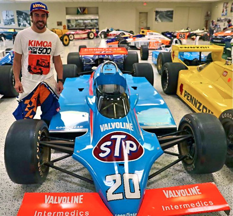 #tbt @alo_oficial is all smiles with Gordon Johncocks 1982 #Indy500 winning car while wearing his @Kimoa T-shirt showing the duel between Gordon and Rick Mears! AWESOME!!!