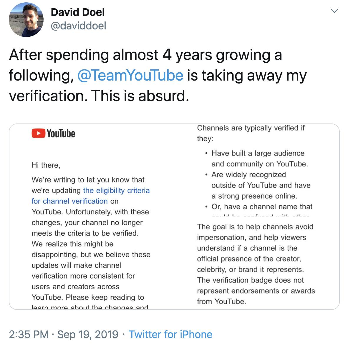 YouTube reverses course, says channels with verification badges will keep them without appeal and channels - Top Tweets Photo