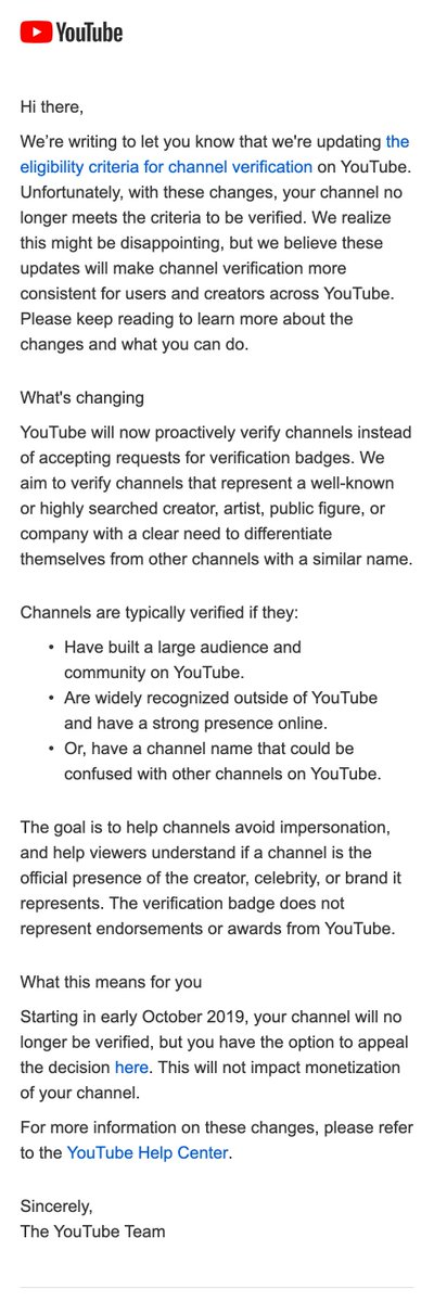 update: here's the letter YouTube creators are receiving - https://twitter.com/TechCrunch/status/1174730083061444608…