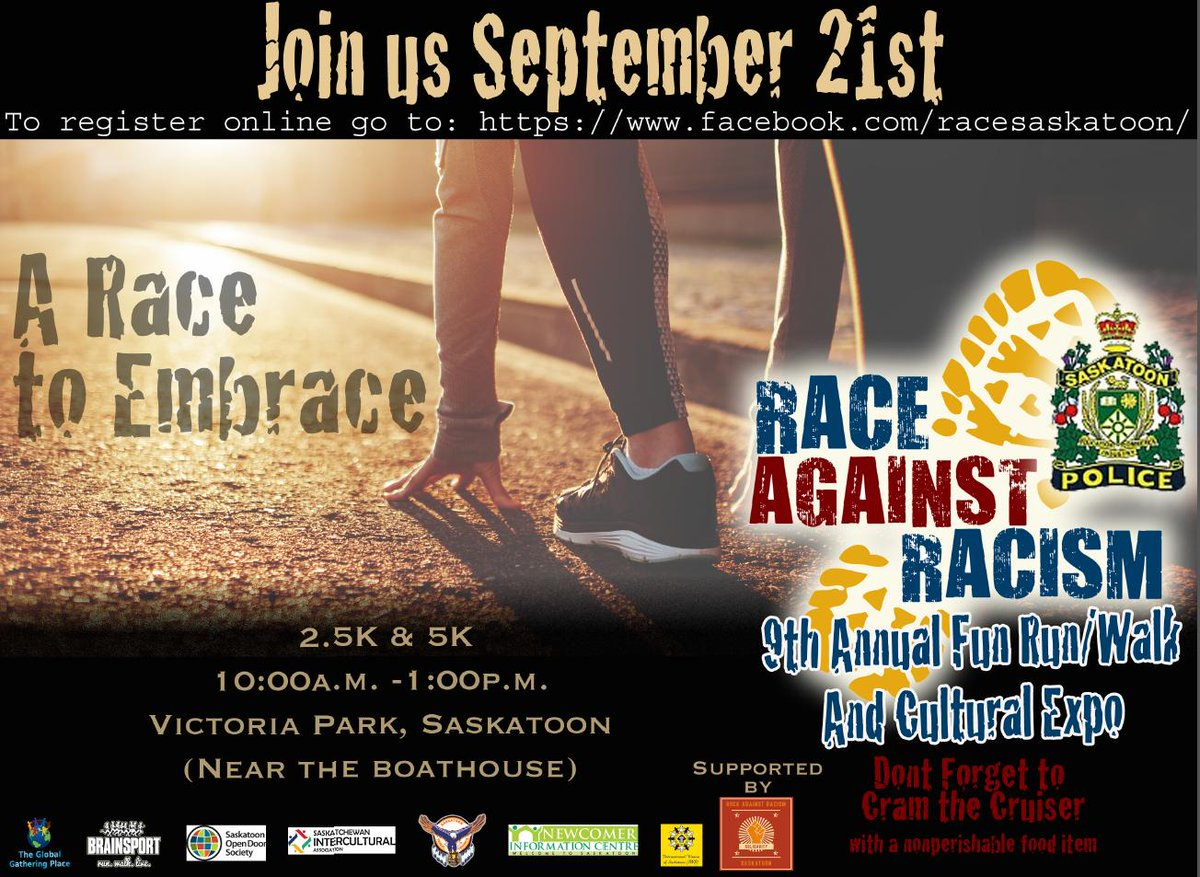 In just two days we will Race Against Racism! We hope to see you at the start line in Victoria Park #yxe this Saturday at 10am. Dont forget to bring a non-perishable food item to help Cram the Cruiser!