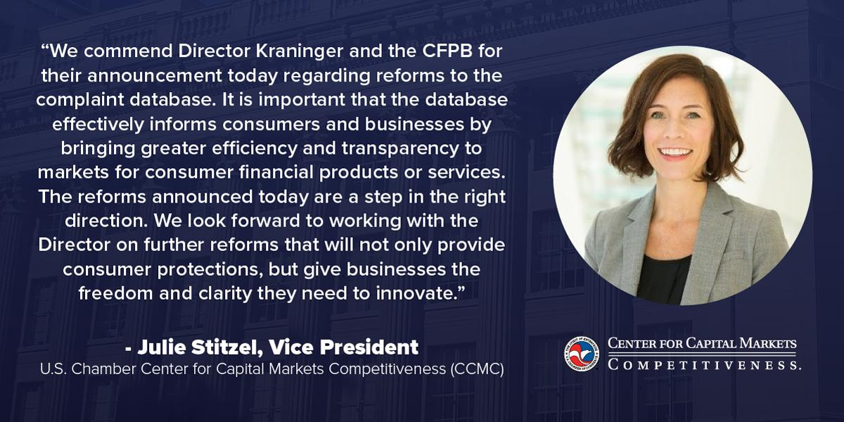 test Twitter Media - .@USChamberCCMC @julie_stitzel made the following statement commending the @CFPB @CFPBDirector for their announcement to enhance the consumer complaint database.  https://t.co/TcanmjykVj https://t.co/X9U0zJjs20