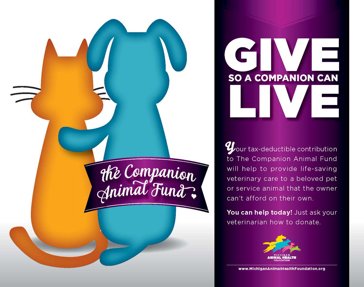 Do you have clients who cant afford treatment for their pets? Take advantage of the Michigan Animal Health Foundation's Companion Animal Fund! Every day, we work to improve the lives of animals, but we need your help to continue: michanimalhealthfoundation.org/donate to learn more!