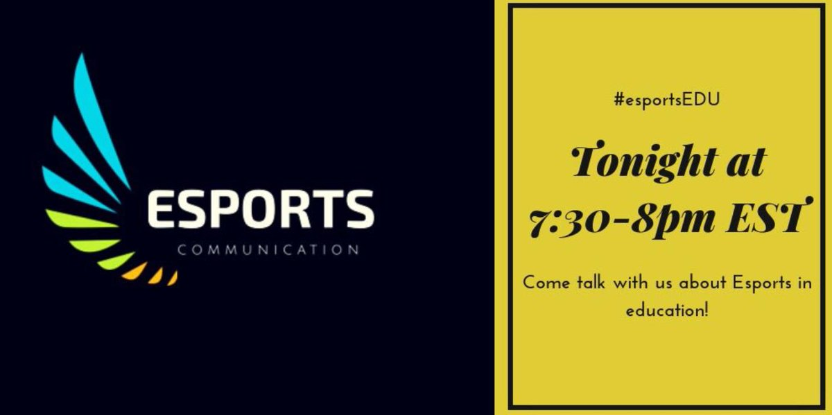Set your alarm for 7:30 pm ET tonight for the #esportsedu chat! Tonight and every Thursday night.