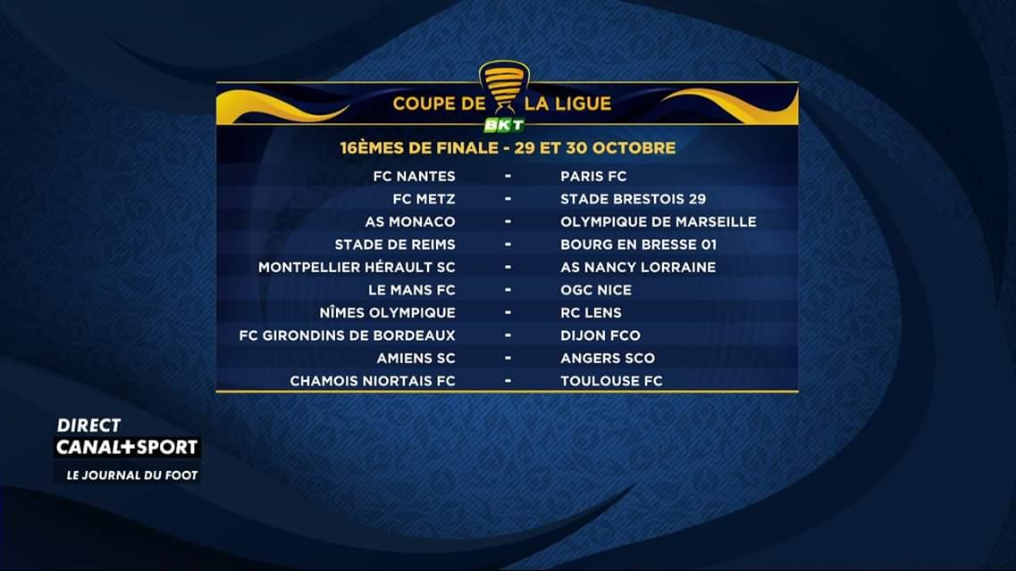 Voici le tirage des 16èmes de la #CoupeDeLaLigue ! LOM se déplacera à Monaco ! 🔥