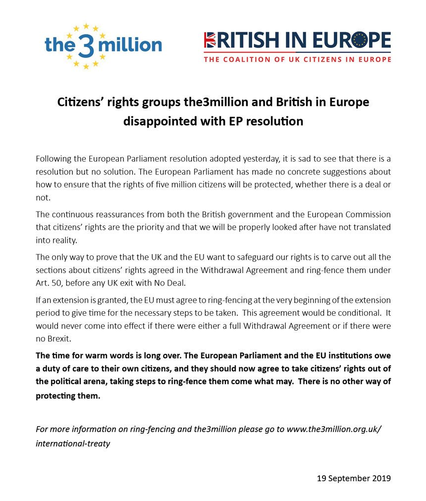 Our joint statement with @the3million on the European Parliament Brexit Resolution on #citizensrights: A resolution but no solution. The time for warm words is long over. Read the full statement here: britishineurope.org/2019/09/19/the… #RingfenceOurRights