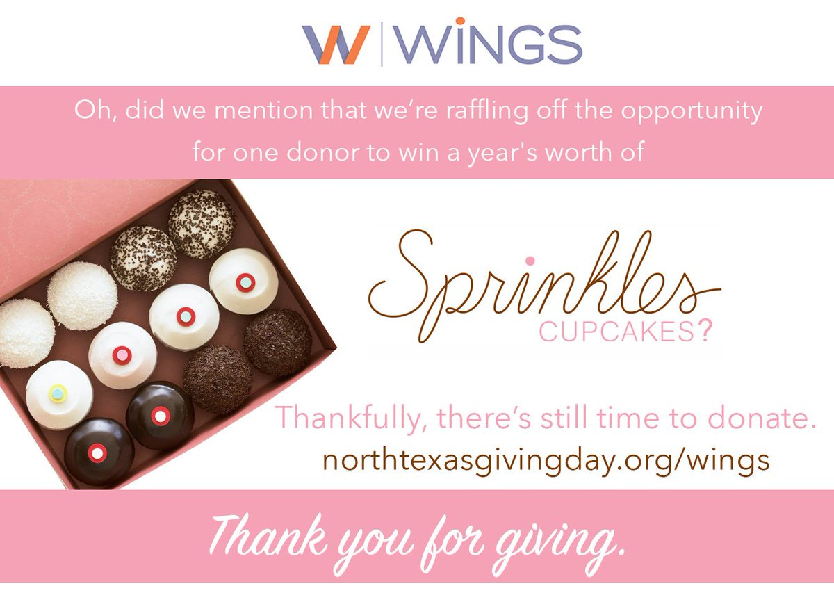 test Twitter Media - We may have forgot to mention... Sprinkles Cupcakes! Donate to WiNGS today for the chance to win this amazing raffle prize! We can't thank you enough for supporting women and families but this is our way of showing appreciation. Keep the donations coming! https://t.co/QEzpXzQFww https://t.co/45ATrvVHTq