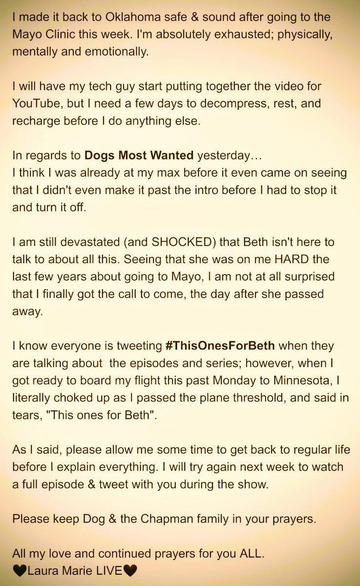 Statement from Laura Marie LIVE:  #mayoclinic #Lupus #DogsMostWanted #ThisOnesForBeth #DogPound #PrayForDog #Update #Youtube #ThankfulThursday #BethChapman #dogthebountyhunter #FFFamily #mentalhealth #FindYourReason #HereToHelp #YouAreNotAlone #SuicidePrevention #LauraMarieLive<br>http://pic.twitter.com/r1mR7h4haZ