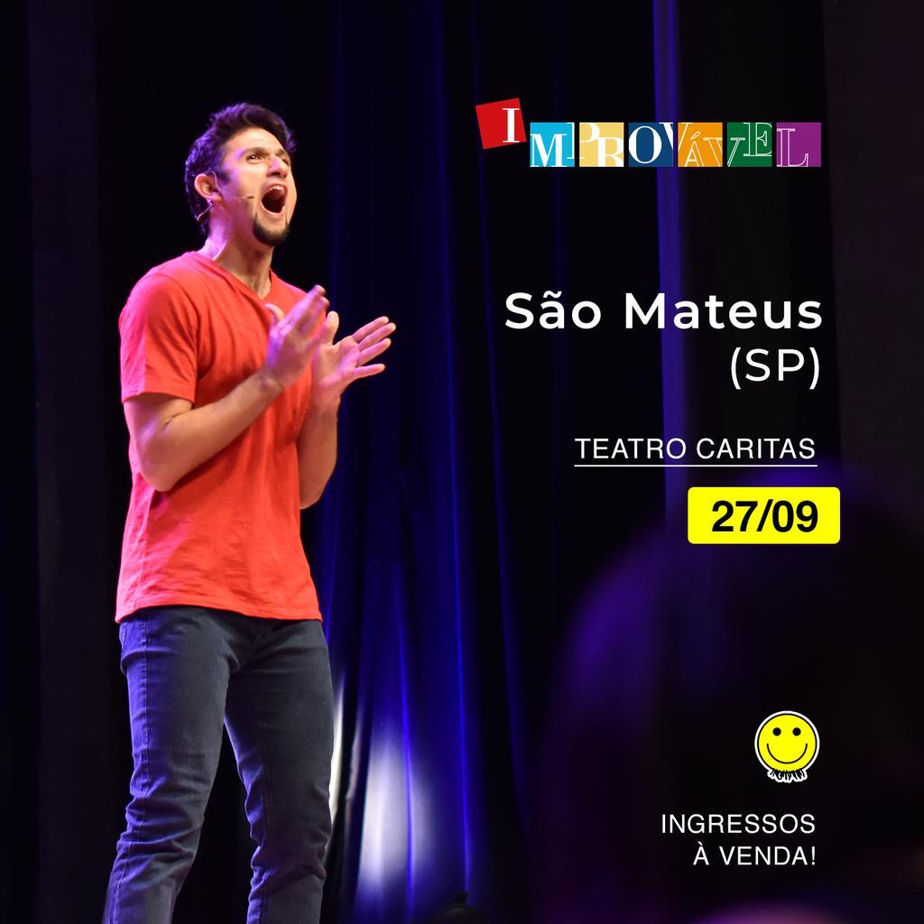 #SaoMateus, teremos sessão do #Improvavel na city de vocês. E será dia 27/09, às 20h e às 22h (extra), no Teatro Caritas. Avisa lá. #barbixas #humor #SP http://bit.ly/improvavel-caritas-set…pic.twitter.com/7DqUUhUB3I