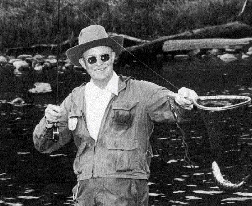 Eisenhower fishing in North Platte River, Colorado, this week 1953:  #Getty