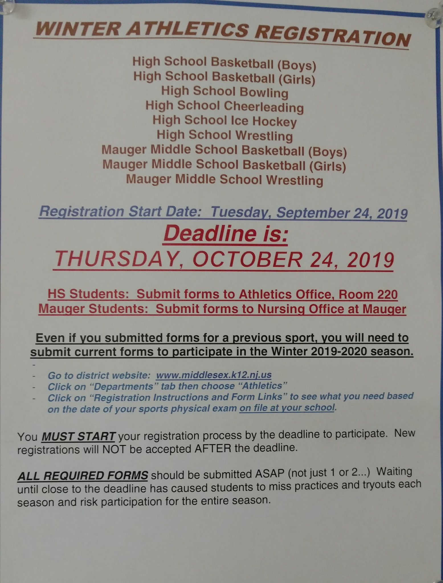 "sports physical form nj  MHS Athletics on Twitter: ""Winter sports information for ..."