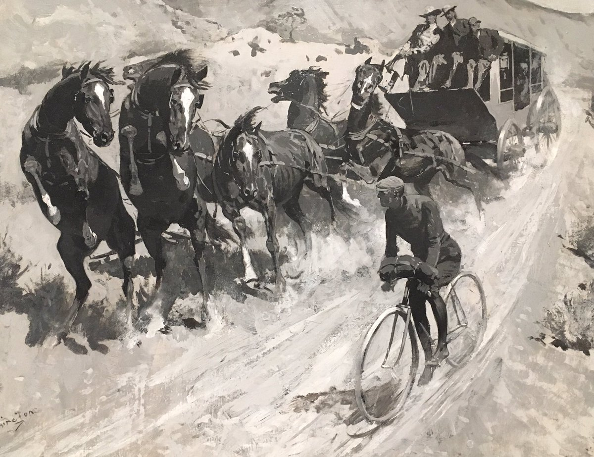 """same as it ever was: anti-cyclist propaganda from 1900, by frederic remington. biker terrifies stagecoach horses in """"right of the road."""" attn @jodyrosen @HeyNell"""