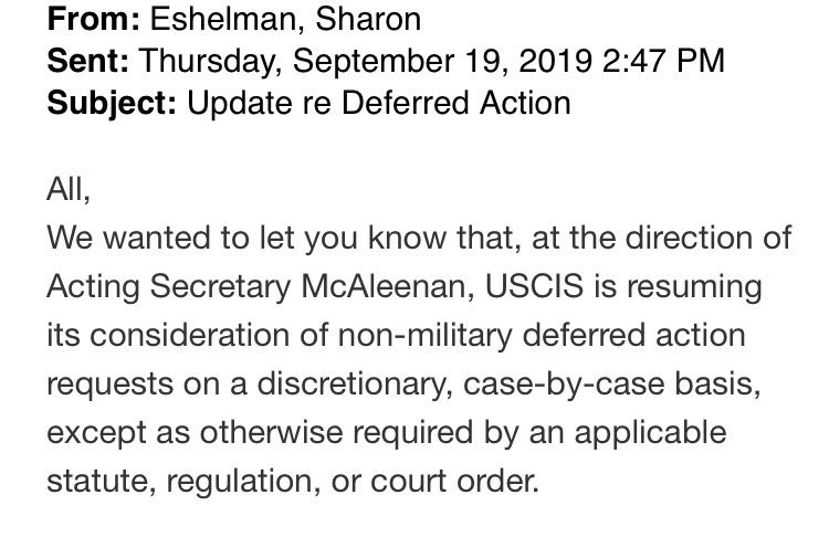 #BREAKING: @DHSgov has issued the reinstatement of #MedicalDeferredAction by @USCIS according to an email obtained by WBUR and written by a DHS advisor.