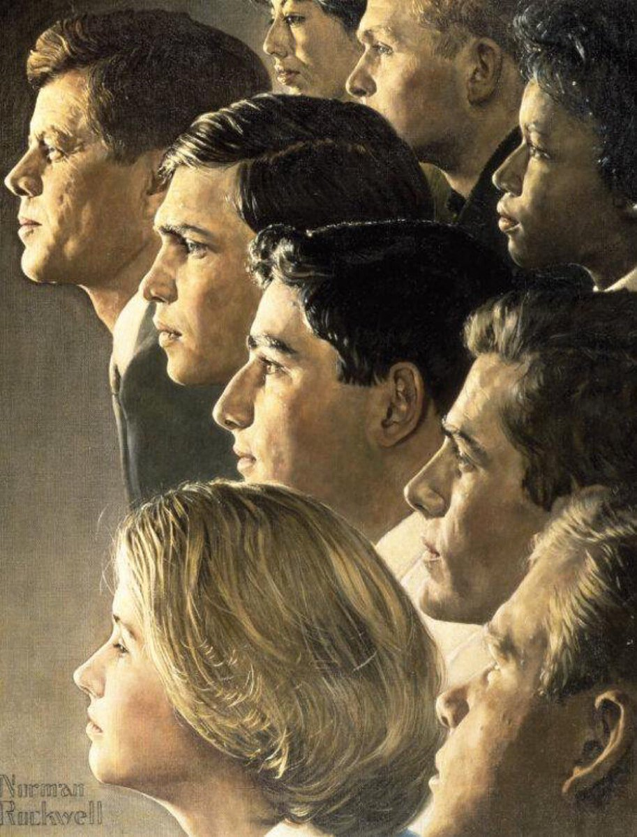 Norman Rockwell's version (1966) of JFK and Peace Corps volunteers: