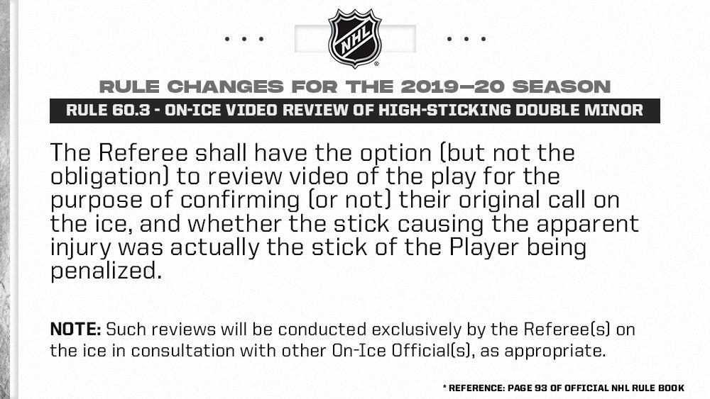 Nhl Public Relations On Twitter Rule 60 3 On Ice Video Review Of High Sticking Double Minor Penalties Full Language Official Rules Https T Co O0n1l3y9g8 Https T Co Mbeu6akwgt