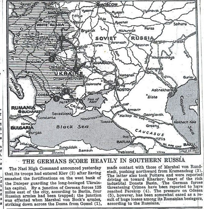 With the capture of Kiev, Axis forces have crushed Red Army opposition from Baltic to Black Sea; next target is Moscow. New York Times map: