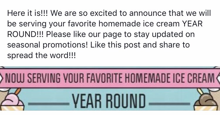 Now serving your favorite homemade ice cream YEAR ROUND! Retweet if you're as excited as we are! <br>http://pic.twitter.com/XEsJI3UoN6