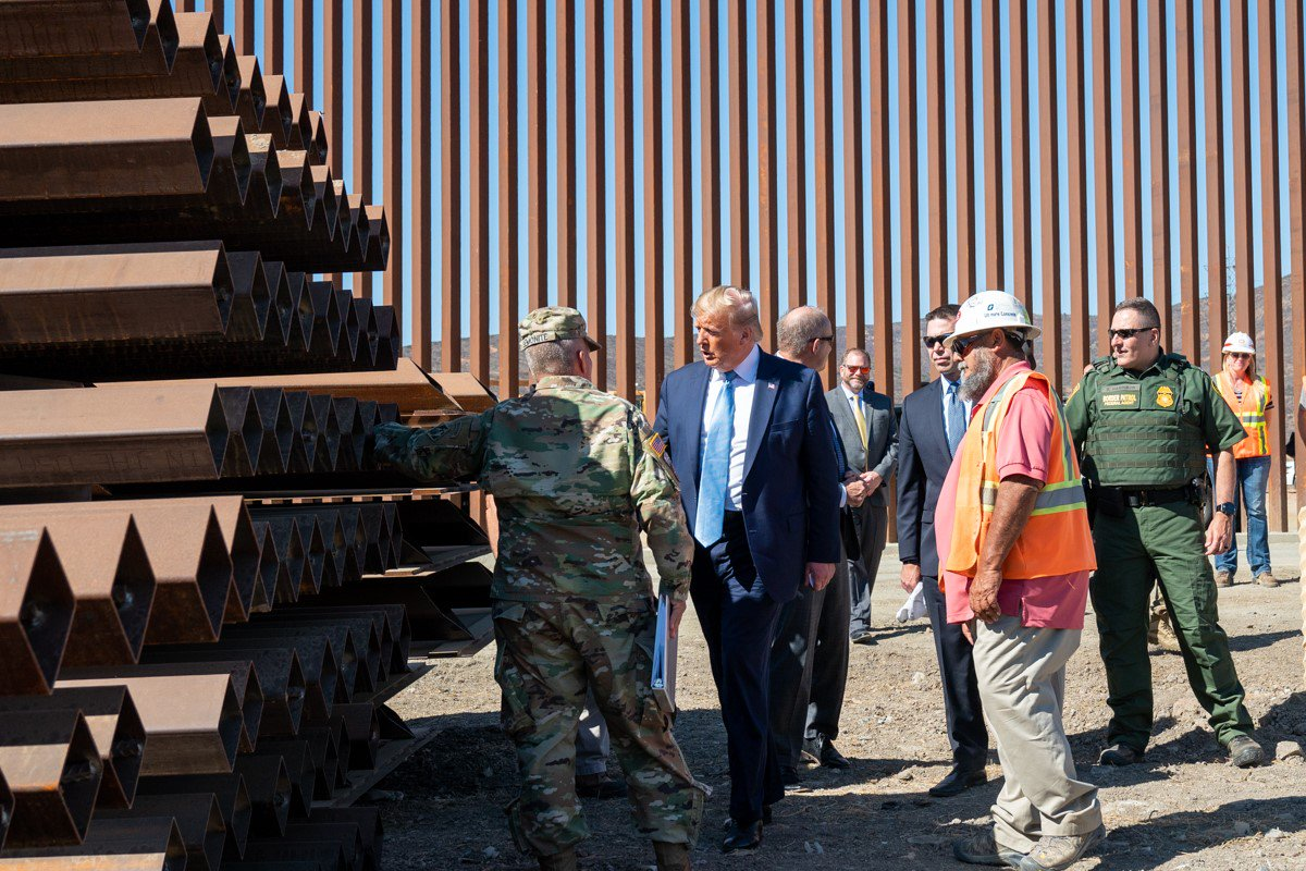 President @realDonaldTrump got an up-close look at progress on the border wall yesterday: We're building it at a breakneck speed. With construction underway, the results are undeniable: Border arrests dropped 30% between July and August. 1600 Daily: 45.wh.gov/5yKBD8