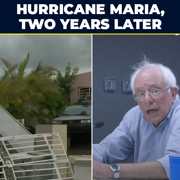 Two years ago, Hurricane María—fueled by climate change—devastated Puerto Rico and the U.S. Virgin Islands. Our message for the people of those islands: you are not forgotten. We will fight for you, as American citizens, to fully rebuild for a sustainable and resilient future.