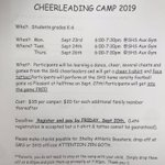 Image for the Tweet beginning: Cheerleading Camp forms and money