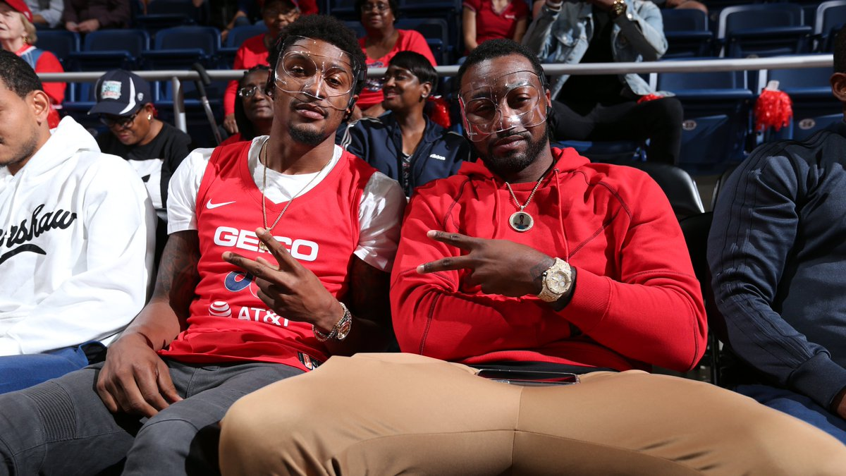 .@JohnWall & @RealDealBeal23 are in the building supporting their masked MVP @De11eDonne and the @WashMystics! 💯🔥#WNBAPlayoffs