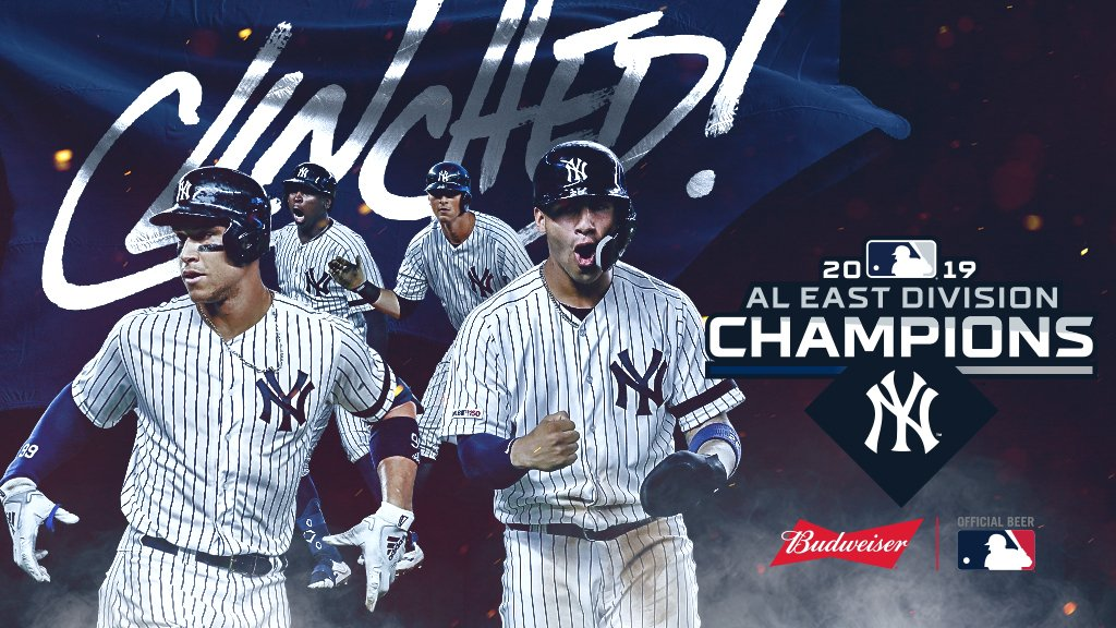 For the first time since 2012, the @Yankees are AL East champs. #CLINCHED