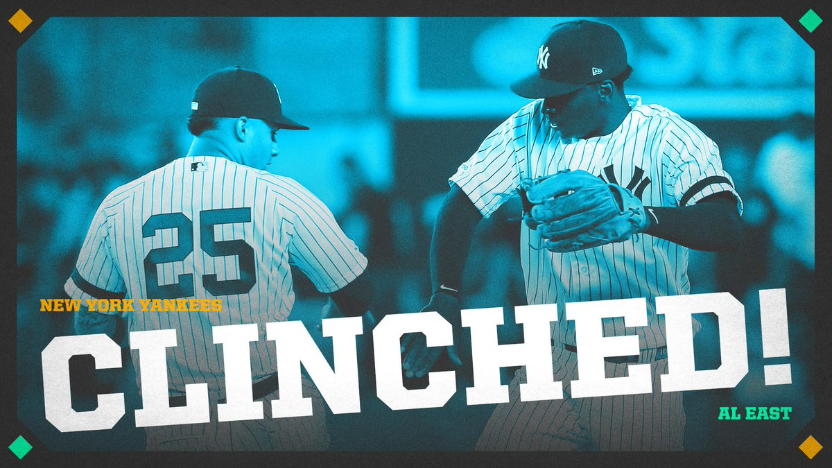 CLINCHED.The Yankees are AL East champs for the first time since 2012 😤