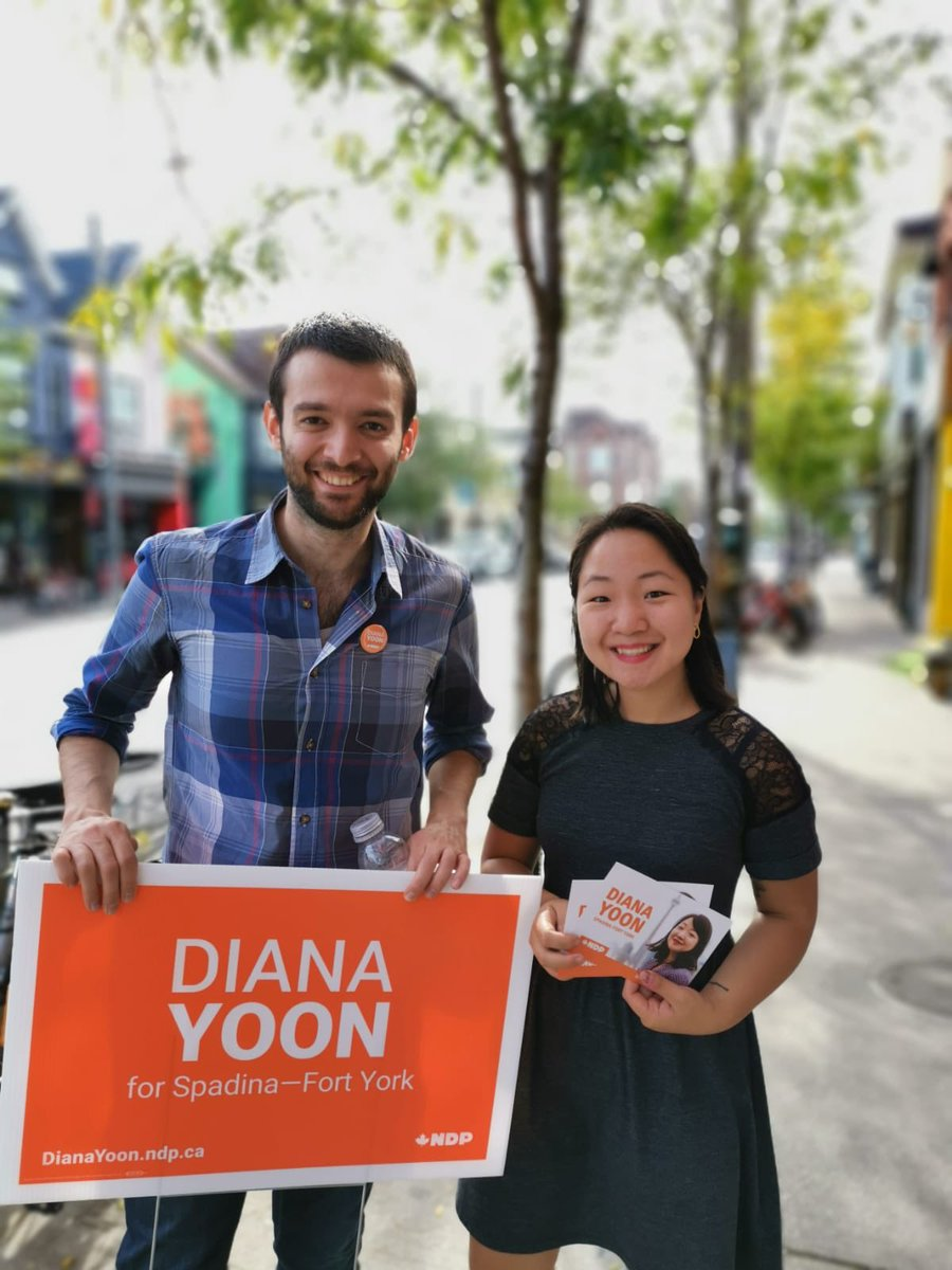 Today was a hard day but we are powering through it by channeling positive energy and sharing our commitment to equity and anti-racism in our work and our politics.  Thanks Ali, Leah, and @ChrisGloverMPP for knocking on doors in #SpaFY and being so supportive.  #cdnpoli <br>http://pic.twitter.com/T7UAN4ucdM