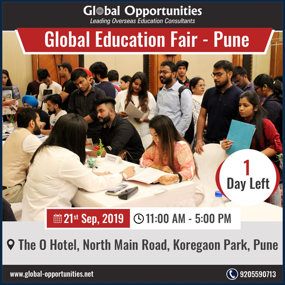 1 Day left for Global Education Fair- Pune Date: 21st September, 2019 Time: 11:00 AM to 5:00 PM The O Hotel To schedule an appointment with delegates call 9205590713 For venue details and registration: https://www.global-opportunities.net/education-fair-2019/… #educationfair #educationfair2019 #StudyAbroadpic.twitter.com/I9eIwrxI0v