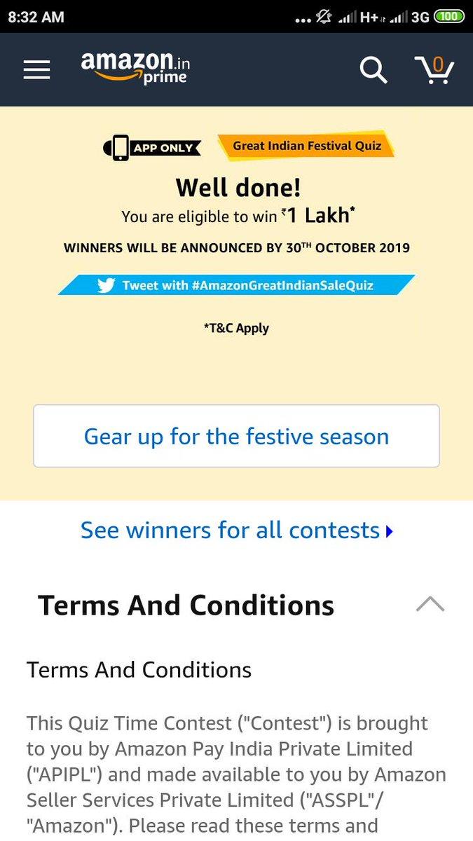 Done.@amazonIN #AmazonQuiz #QuizTime #AmazonGreatIndianFestivalQuiz #TuesdayThoughts #TuesdayMorning #TuesdayMotivation