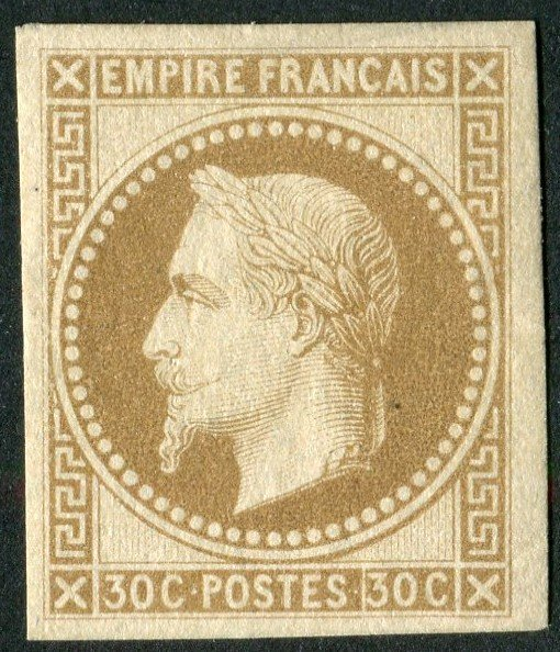 1861, this is a color essay of French Napoleon lauré #stamp. The essays were imperforate and  this one is near the final color (right stamp). #philately Most essays were realised with the facial value of 30c. <br>http://pic.twitter.com/EHD9apvmFf