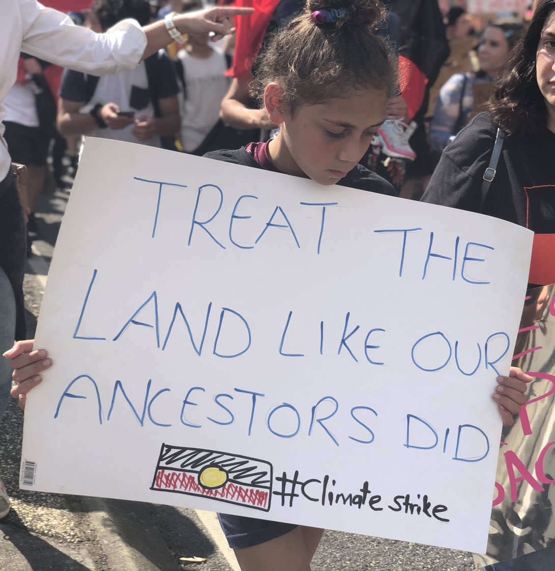 We don't inherit the land from our ancestors we borrow it from our children.  ✊🏾🖤💛❤️✊🏾 #ClimateStrike https://t.co/2LOlRFC3Jh