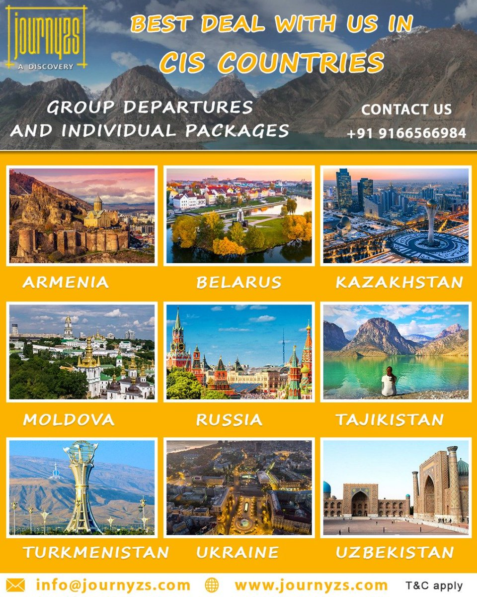 Book NowBest deal with us in CIS Countries GROUP DEPARTURES AND INDIVIDUAL PACKAGESCall / Whatsapp 9166-566-984Email us-> Info@Journyzs.comCheck us on-> http://www.journyzs.com#travel #GoThere #journyzs #TravelMoment