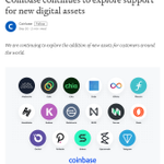 Image for the Tweet beginning: .@coinbase continues to explore support