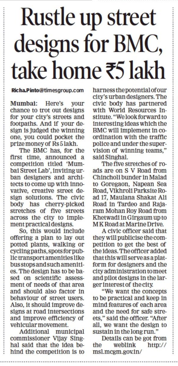 In a first, #BMC invites #urban designers and #architects to partner with them to design streets of #Mumbai. Five streets have been selected, and those whose designs are selected would get an #honorarium of Rs 5 Lakhs. More details in the report. timesofindia.indiatimes.com/city/mumbai/mu…