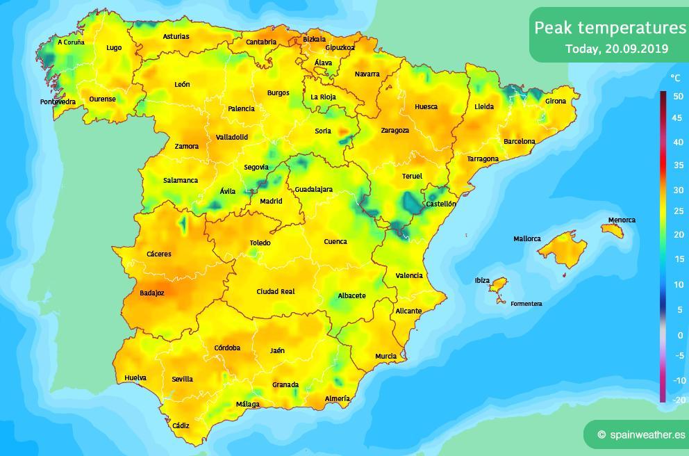 #Spain - Forecast Peak Temperatures on Friday #FelizViernes <br>http://pic.twitter.com/shVVrJUQ8G