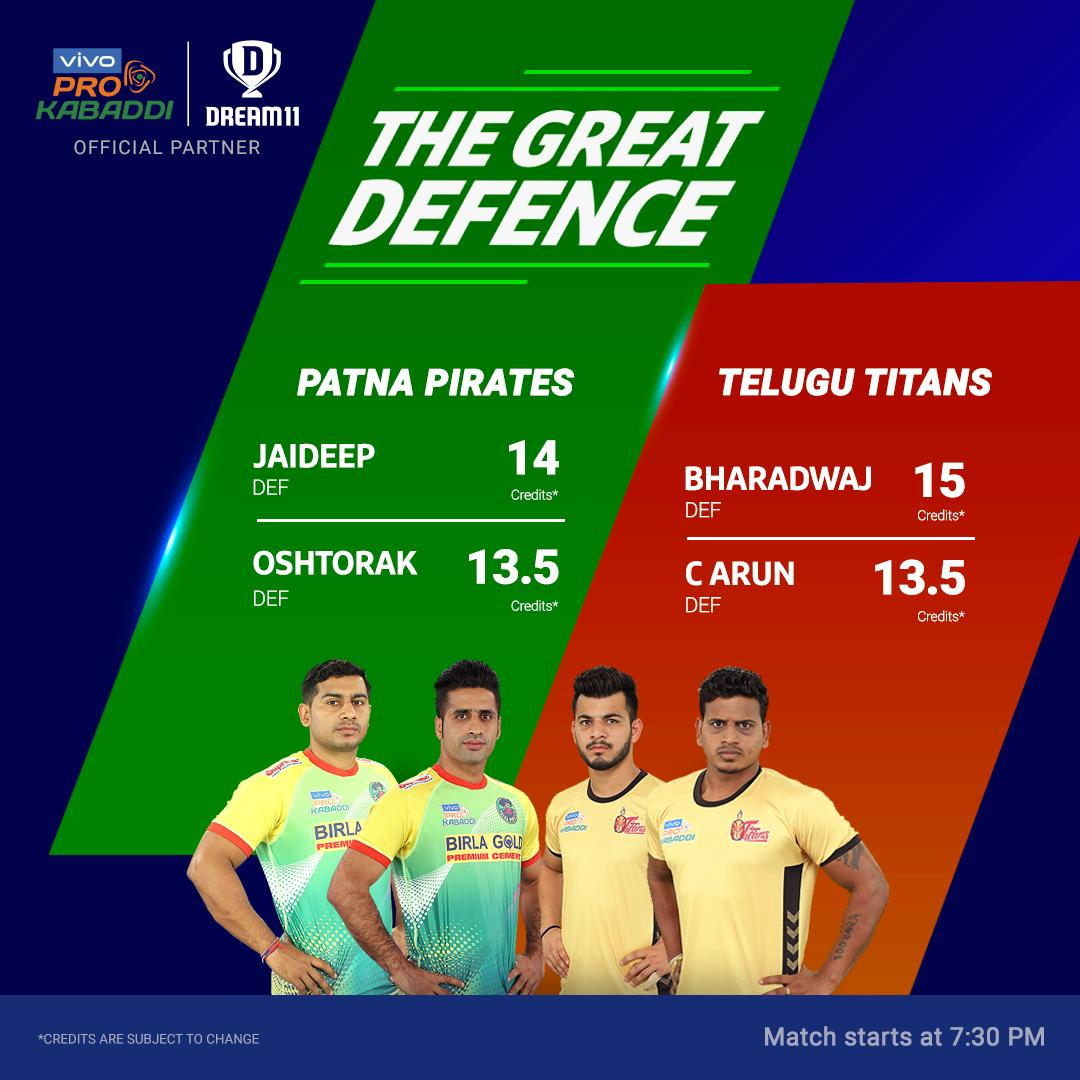 After a disappointing season, the @PatnaPirates made a comeback with 3 back-to-back wins. Will they overpower the @Telugu_Titans tonight? Click here to create your teams for #HYDvPAT - http://d11.co.in/Pro-Kabaddi@ProKabaddi
