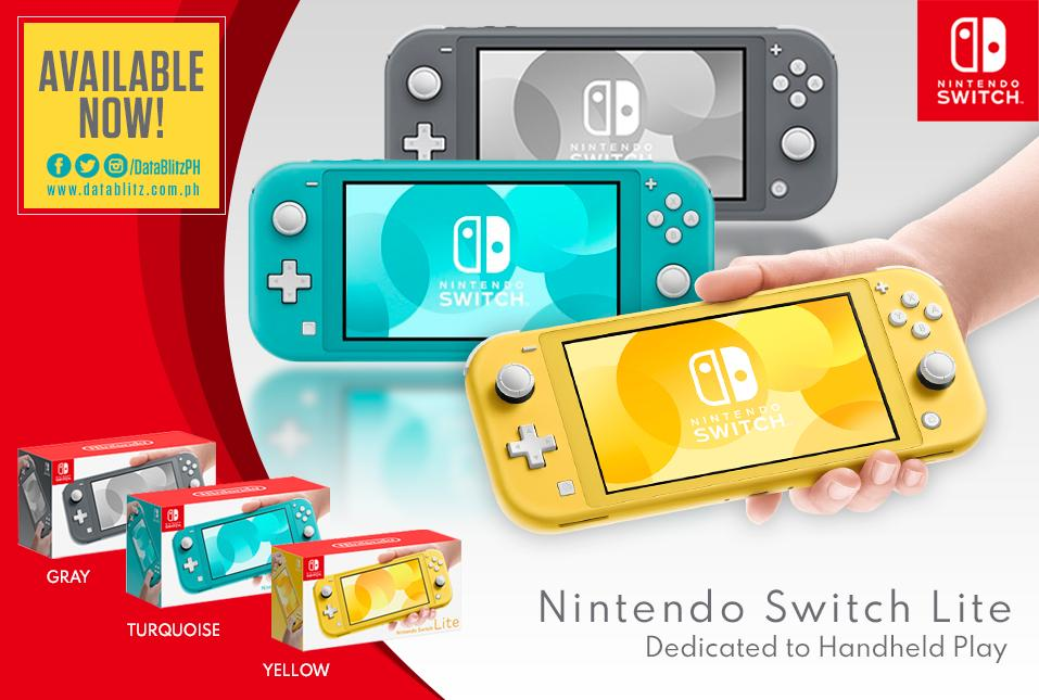 Nintendo Switch Lite Yellow, Gray or Turquoise will be available today at Datablitz!  Price: Yellow - P11,995.00 Gray - P11,995.00 Turquoise - P11,995.00 <br>http://pic.twitter.com/nsTvR0a0nO